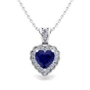 Ceylon Blue Sapphire Round Diamond Pendant Women